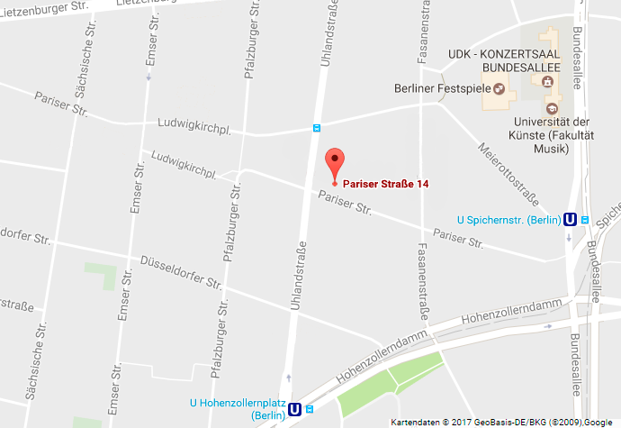 Google Map: location of Schmuckwerkstatt at Pariser Straße 14, 10719 Berlin